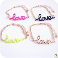 "Min.order is $5 (mix order)Free Shipping,Europe&America Fashion Bracelet,""Love"" Chain Bracelet 2013 (OB0096)"
