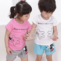 Free shipping 2013 Children's suit summer cartoon mouse boys clothing girls short-sleeve T-shirt shorts ww056