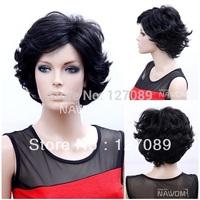 Free shipping short curl 100% kanekalon jet black 12 inch glueless synthetic wig T0083 106g