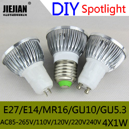 10PCS Free Shipping DIY LED Shell Gold / Silver 4 x 1W MR16 GU10 GU5.3 E27 E14 LED Saving Spotlight Lamp Shell Kit \ 3W Aluminum(China (Mainland))
