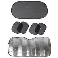 6pcs Black Side Car Sun Shade Rear Head Back Side Window Sunshade Cover Mesh Visor Shield Screen+Aluminium Foil Flap