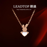 Fashion 14k rose gold necklace Valentines Day New Releases  happy little bunny necklace, gave the most beloved girl