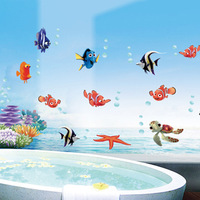 Fish bathroom background wall stickers wall stickers sanguan glass stickers