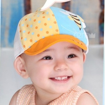 Bee style mesh cap baby hat cap 0 - 2