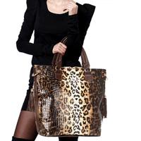 Meters 2013 fashion quality leopard print women's cowhide handbag big bag the trend of portable messenger bag