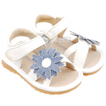 Sheep genuine leather summer female open toe flower sandals sound shoes