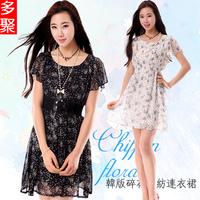 2013 summer chiffon one-piece dress plus size summer women's beach dress full dress e