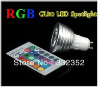 Free shipping 10X GU10 E14 E27 MR16 3W 4W 5W RGB LED Light Spotlight Bulb Lamp with Remote Controller