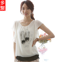Summer 2013 chiffon shirt short-sleeve top slim loose plus size clothing loose basic shirt