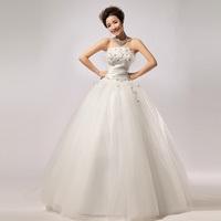 Tube top type flower gauze bandage high waist wedding dress the bride wedding dress outdoor wedding dress
