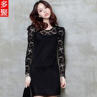 2013 spring summer lace one-piece dress long-sleeve basic skirt slim chiffon plus size clothing