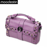 Moodestin fashion cowhide handbag rivet punk shoulder bag vintage handbag women's