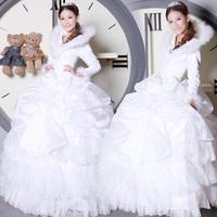 Cotton bridal wedding dress winter wedding dress sweet princess wedding dress 25