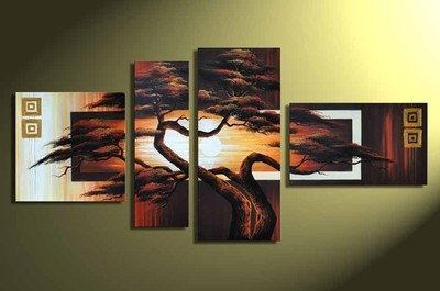 "Artist handmade paint Large Art Oil Painting \ \ \ ""pine tree \\ \\ \\\"" on 4pc canvas NO framed(China (Mainland))"