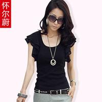 Women's summer lotus leaf chiffon sleeve top female short-sleeve chiffon shirt Fashion Summer Women's Clothes Chiffon short