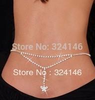 ladies Body jewelry waist chain belts New sexy Butterfly Rhinestone sexy belts Belly Chain and Lower Back sandbeach belts
