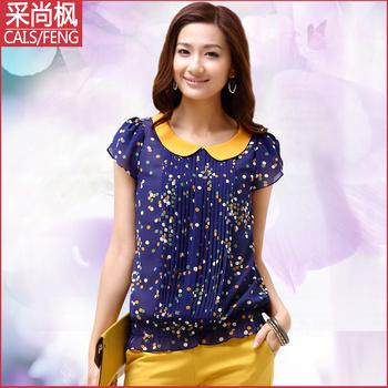 2013 summer peter pan collar chiffon shirt beauty top sweet polka dot chiffon short-sleeve shirt female