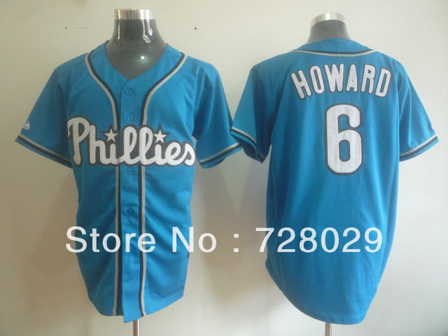 Phillies#6 Ryan Howard jersey Authentic Blue Baseball Jersey Cheap Wholesale Retail ,Embroidery Logo Cool Base jerseys(China (Mainland))