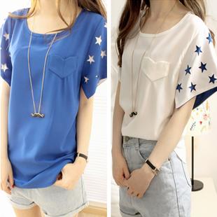 T-shirt short-sleeve female honey women's loose chiffon top plus size clothes female chiffon shirt