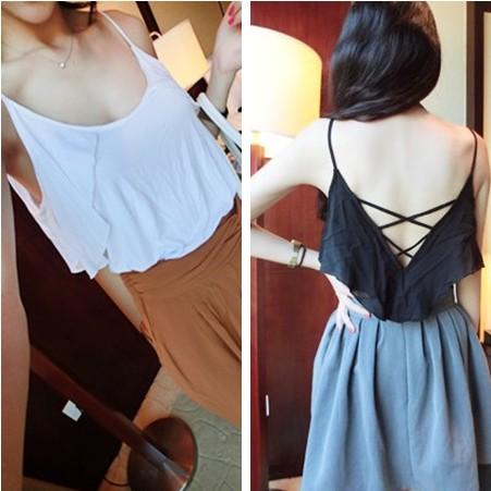 Summer women's fashion normic all-match beautiful strap racerback sleeve ruffle spaghetti strap small vest