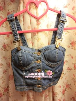 Vivi vintage denim corset tube top small vest spaghetti strap fashion sexy women