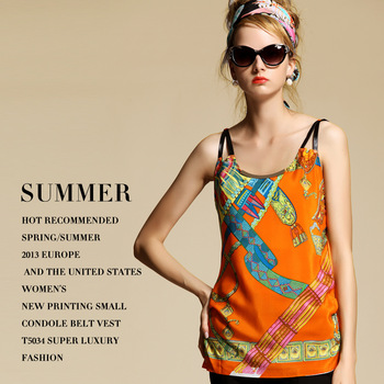 2013 spring and summer fashion women's luxury super fashion print spaghetti strap small vest t5034