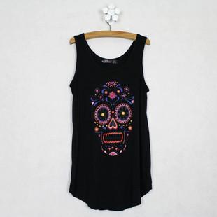 Fashion loose sleeveless modal small vest basic shirt skull print female spaghetti strap short thin design