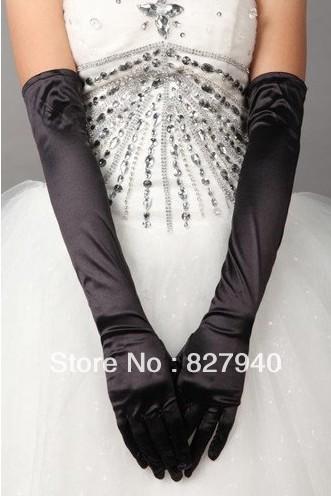 Black/white long stretch satin silk perform costume wedding gloves(China (Mainland))