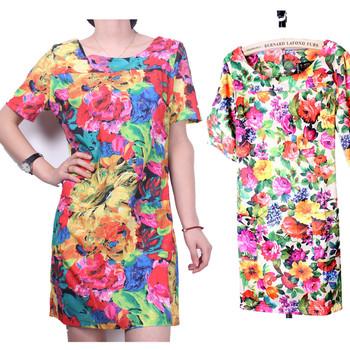 E . xiu2013 summer fashion vintage print plus size slim color block decoration short-sleeve dress flower
