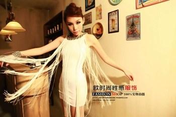 Fashion tassel 2013 one-piece dress slim hip slim one-piece dress sleeveless tank dress female tank dress