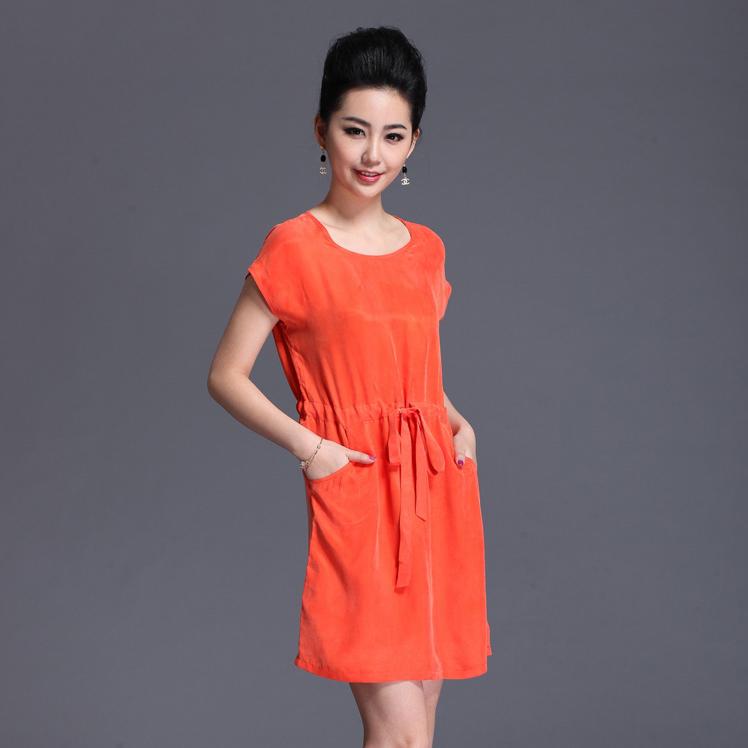 Summer fashion silk cupro heavy silk one-piece dress plus size full dress