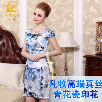2013 silk preserved blue and white porcelain mulberry silk o-neck short-sleeve fashion silk one-piece dress