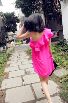 Fashion sexy chiffon double layer irregular tassel big ruffle strapless one-piece dress oblique