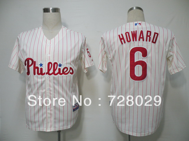 Phillies#6 Ryan Howard jersey Authentic Red Stripe Baseball Jersey Cheap Wholesale Retail ,Embroidery Logo Cool Base jerseys(China (Mainland))