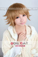 FREE SHIPPING Anime Dangan Ronpa Zero Oomoto Makiko Short Light Brown Cosplay Wig Costume Heat Resistant + Cap