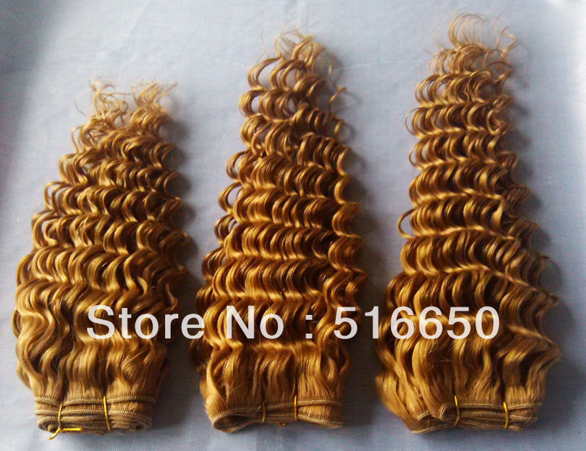 SS Cheap 4Pcs/Lot 400g Mixed Length 10-18inches #27 Caramel Blonde Deep Curl Malaysian Virgin Human Hair Weft DHL Free Shipping(China (Mainland))