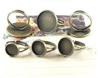 15PCS Antiqued bronze 18mm cabochon settings adjustable Rings #23003