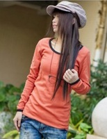 2013 New Free Shipping Women's Korea Style Round Neck Long Sleeve T-shirt Watermelon RedWhite/Black/Grey WD13041302