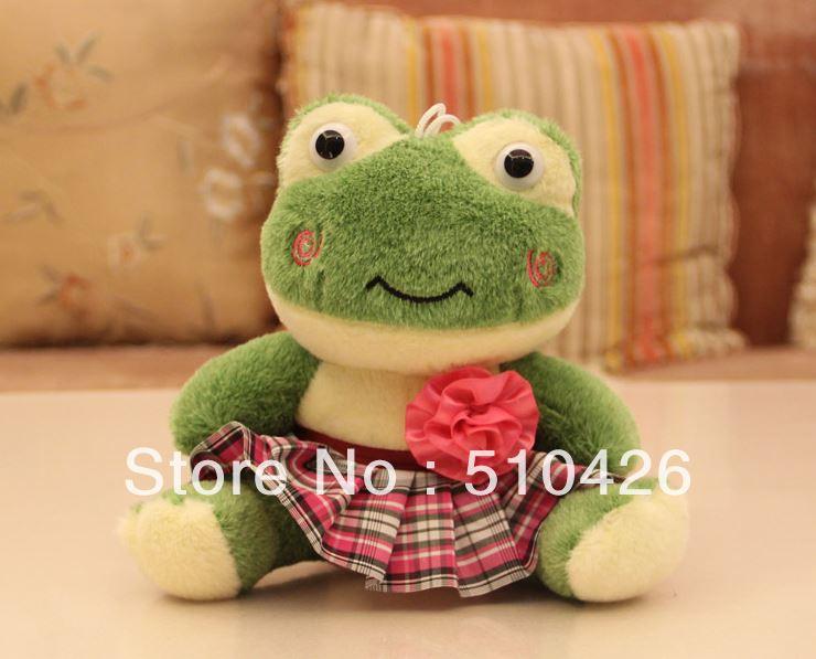 Free shipping 18CM Plaid cartoon frog plush toy doll(China (Mainland))