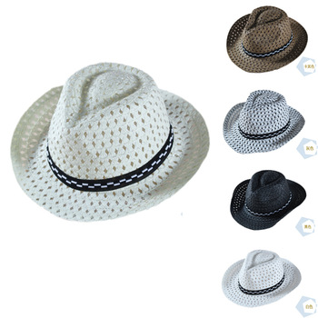 4 - 8 years old male child boy denim strawhat infant summer hat big brim hat jazz hat 5 80g