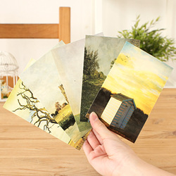 Nostalgic vintage the scenery oil painting blank white card greeting card boxed 23270(China (Mainland))