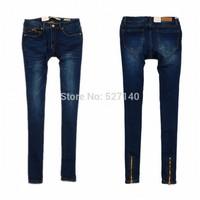 2014 autumn newly fashion women's Dark Blue butt-lifting slim trousers zipper female pencil pants