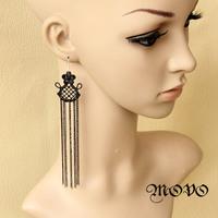 Ultra sexy queen long tassel earrings drop earrings fashion accessories elegant women jewelry 018