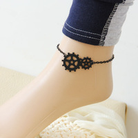 Black punk lace anklets vintage jewelry foot chain gear style 049
