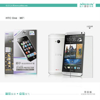 Genuine NILLKIN Crystal Clear LCD Screen Protector Protective Film For HTC One M7 with Retail Package Simple Version