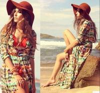 Summer womens Puff retro short sleeve Printing Slim Silk Dress