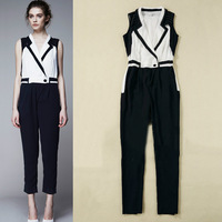 Hot Sell 2013 New Fashion Women Rivets Suit Collar Patchwork  Jumpsuits Overalls Rompers SS13164