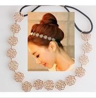 Min. order $9 Fashion vintage gold cutout elegant rose elastic hair band hair accessory TS039