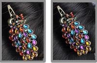 Min. order $9 fashion vintage elegant gorgeous peacock clip duckbill clip banana clip TS040