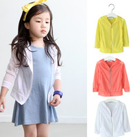 Children's clothing male female child with a hood zipper outerwear cardigan air conditioning shirt child sun protection clothing